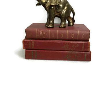 Elephant Figurine Brass Cast Iron Big Elephant Figurine Rustic Boho Decor Mid Century Decor