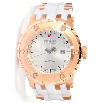 Invicta 12034 Men's Reserve Subaqua Diver Silver Dial Rubber Strap Rose Gold Stainless Steel GMT Dive Watch