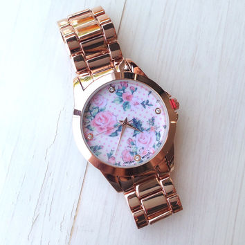 Retro Floral Bracelet Watch