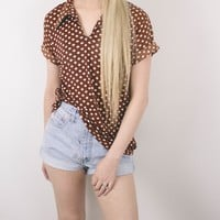 Vintage 70s Brown Polka Dot Blouse