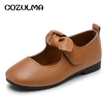 COZULMA Children Pu Leather Shoes Girl Fashion Bow Mary Jane Shoe Baby Girl Toddler Princess Strap Flats Girls Dance Party Shoes