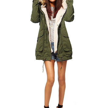 Drawstring Waist Parka Coat with Hood