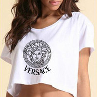 VERSACE Medusa Symbol Cropped Tee T Shirt Women Black and White Color - VR2