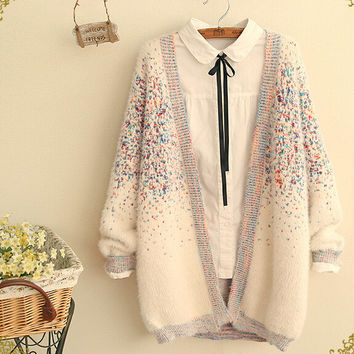 literary Color point mohair cardigan long sleeve  sweater mori girl