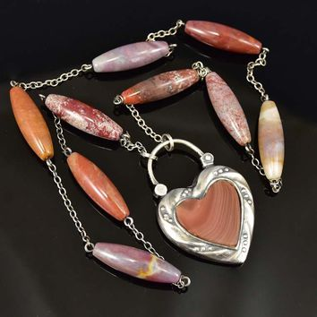Scottish Banded Agate Silver Heart Padlock Necklace