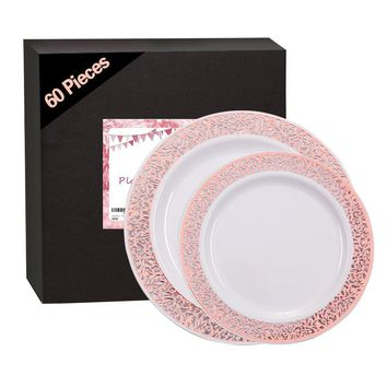 60 Pieces Rose Gold Plates, Plastic Lace Plates for Party, Premium Heavyweight Disposable Plastic Plates Includes: 30 Dinner Plates 10.25 Inch and 30 Salad/Dessert Plates 7.5 Inch
