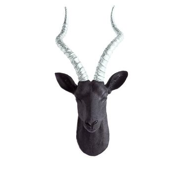 The Maasai | Large Antelope Gazelle Head | Faux Taxidermy | Black + Silver Glitter Horns Resin