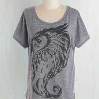 Owls Mid-length Short Sleeves Owl Keep an Eye Out Tee
