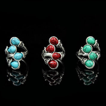 Fashion Jewelry Ancient Design Tibetan Alloy Antique Silver Plated Infinite Turquoise Bead Adjustable Rings