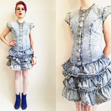 80s Dress Acid Wash Denim Dress 80s Clothing 80s Party Acid Wash Dress Vintage Denim Dress Ruffle Dress Lace Up Dress 80s Prom Dress Size 4