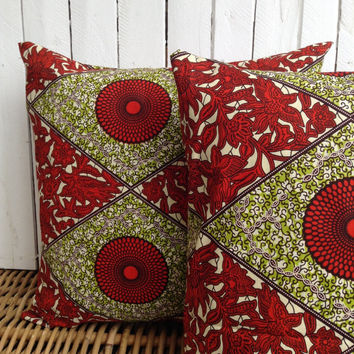Pair of Cushion covers, throw pillow cover, Scatter cushion, African wax print  (17 inch) African decorative pillow
