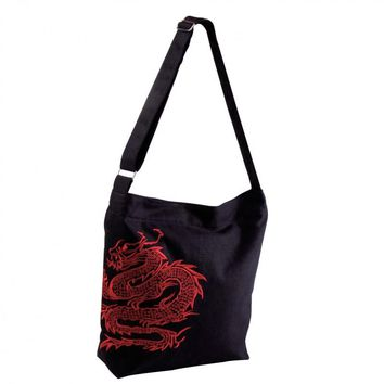 Black Canvas Chinese Dragon Messenger Hand Bag Purse From JL Rocken
