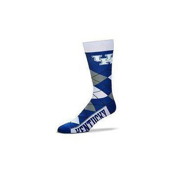 NCAA Kentucky Wildcats Argyle Unisex Crew Cut Socks - One Size Fits Most