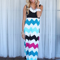 Chevron Bliss Maxi Dress Black