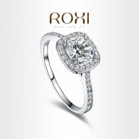 NEW ROXI 18K White Gold Plated Elegant Platinum Round Square Diamond Wedding Ring Fashion Jewelry Sets For Women = 5987693889