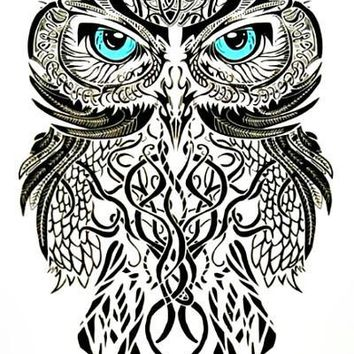 Large Blue Eyed OWL Temporary Tattoo
