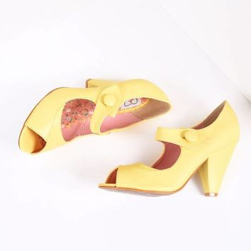 Bettie Page Yellow Leatherette Button Shelly Peep Toe Pumps