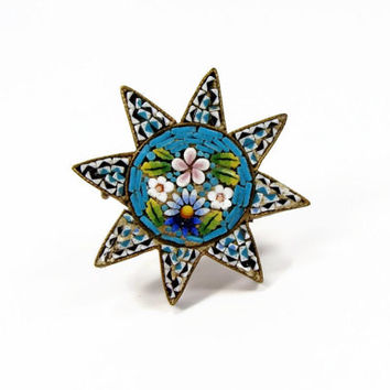 Micro Mosaic Pin, Victorian Era, Star Pin, Antique Brooch, Blue Pin, Estate Jewelry, Tile Brooch, Vintage Jewelry, Blue Glass, Brooch, Pin
