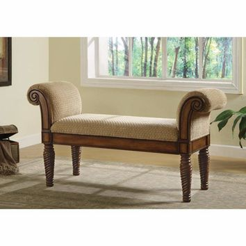 Robust Upholstered Bench with Rolled Arms, Brown