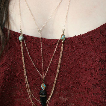 earth and sky necklace // black tourmaline, coyote medicine, brass, crystal, boho necklace, bohemian jewelry, statement, boho, jewelry