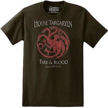 Game Of Thrones House Targaryen Fire & Blood Licensed Adult T-Shirt - Black