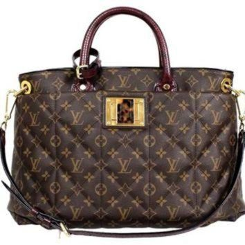 ONETOW Louis Vuitton Monogram Canvas Burgundy Python Ostrich Exotic Mm Tote Bag