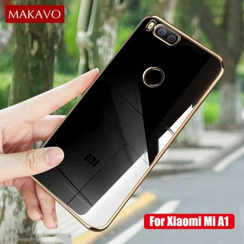 MAKAVO Phone Cases For Xiaomi Mi A1 MiA1 Luxury Soft  Silicone Transparent Plating Cover For Xiaomi Mi5X Mi 5X Case Capa