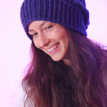 Purple chunky hat, crochet hat, knit hat, slouchy hat, hand knit hat, slouchy beanie, winter hat, knitted hat, chunky beanie, womans hat.