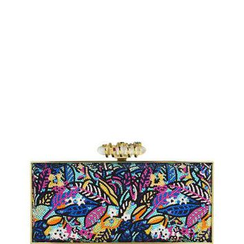 Judith Leiber Couture Sea Jungle Large Coffered Rectangle Clutch Bag, Multi