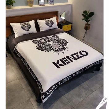 KENZO Fashion Modal 4 Pieces Sheet Set Blanket For Home Decor Bedroom Living Rooms Sofa