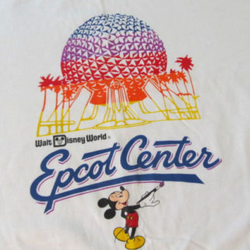 Large EPCOT Center Vintage T-Shirt in White with Mickey Mouse, Spaceship Earth and bright colors - From Walt Disney World in the 1980's