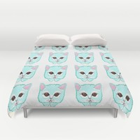 Miss Kitty Duvet Cover by Kathleen Sartoris
