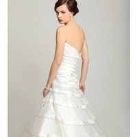 A-line strapless satin ivory 2012 wedding dresses BAHD0038