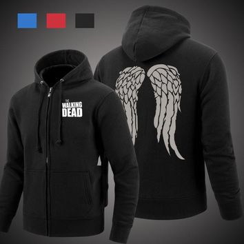 The Walking Dead Hoodie Zombie Daryl Dixon Wings Fleece Cotton Men Hoodies Zipper Jacket Men's Sweatshirts Sportswear
