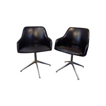 Pre-owned Black Vintage Mid-Century Swivel Chairs - Pair