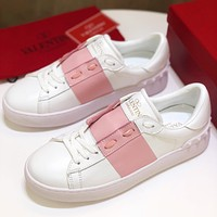 VALENTINO new hot sale women's stitching color casual white shoes