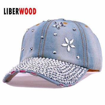 DCCKWJ7 Lady fashion Denim crystal flower Jean denim Distressed Baseball Cap Hat shining bling Hat Curved Ball Cap women summer hats