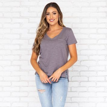 Mindy Basic V-Neck Tee In Charcoal Grey
