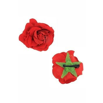 Everything coming up Red Roses Flower Hair Clip 2PC Set