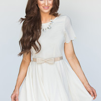 Faith Cream Scallop Fit and Flare Dress