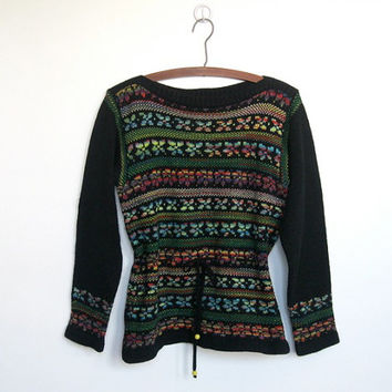 Vintage 1970s Boho / Folk Knit Tunic Sweater / Boatneck / Drawstring Waist