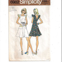 Simplicity 6982 Pattern for Misses' Back Wrap Summer Dress, Sizes 6 & 8, From 1975, Vintage Pattern, Home Sew Pattern, 1975 Fashion Sewing