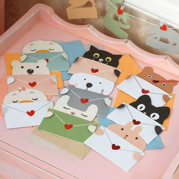 9 Sets Cartoon Animal Envelope Greeting Card