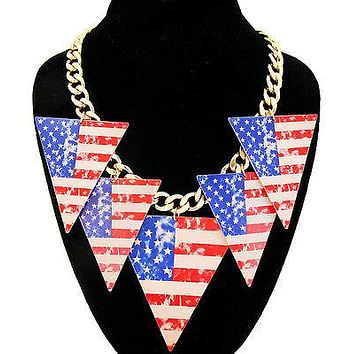 Printed America Flag Triangle Dangle Gold Necklace