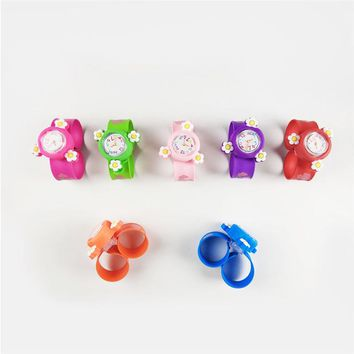 Cindiry Silicone Cartoon Tap Watch Toys 3D Detachable Kids Cute Little Flower Wrist Watch Boy Girl Toy Watch Quartz Wrist Watch
