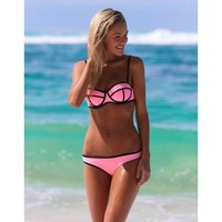 Cali Chic Juniors' Swimsuit Celebrity Waterproof Neoprene Triangle (WET Suit) Bikini - Walmart.com