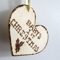 Baby First Christmas ornament. Custom Wood Burned Christmas keepsake.