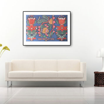 Large Purple Blue Red Print A2, Modern Ornamental  Contemporary Abstract Painting. Wall & Home decor.