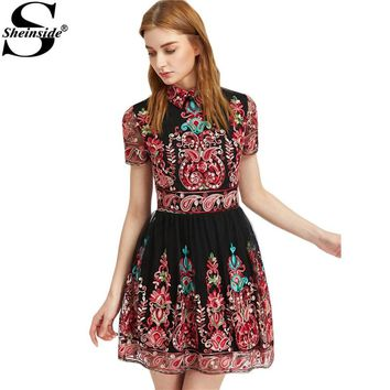 Sheinside Embroidery Party Dress Women Black Vintage Mesh Overlay Boho Skater Dresses Cute Lapel A Line Dress