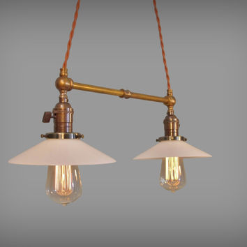 Double Pendant Lamp with Glass Shallow Cone Shades